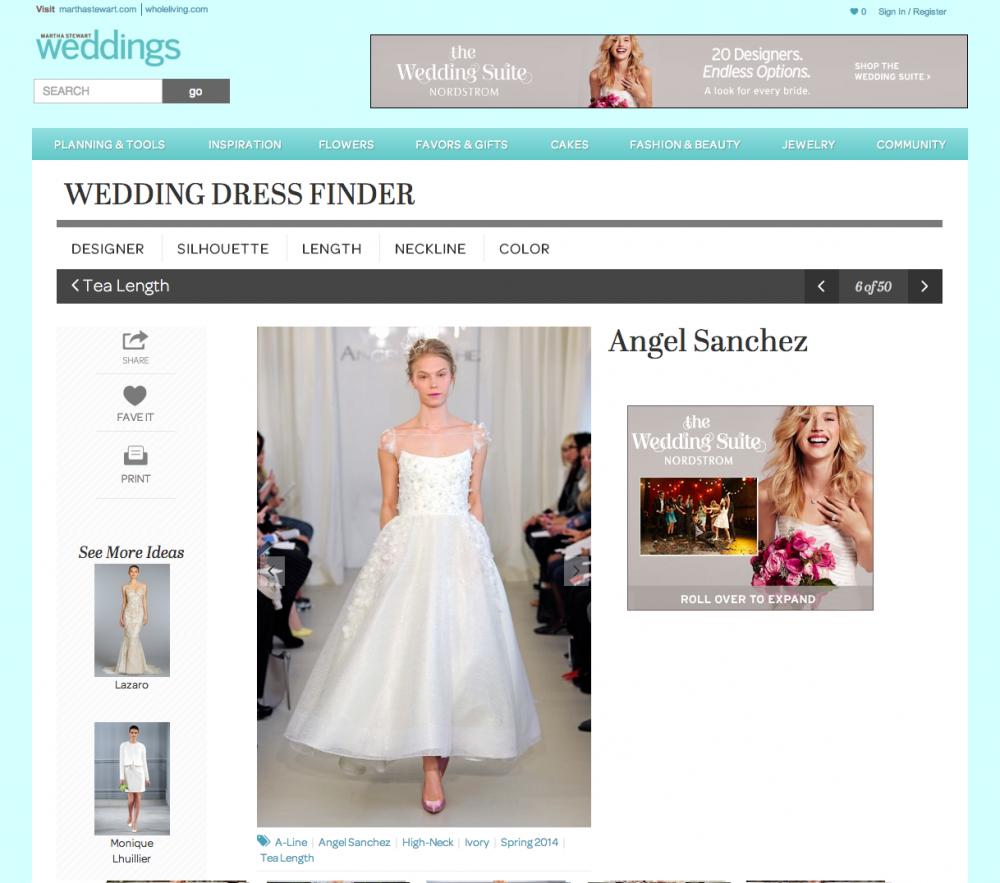 Martha Stewart Wedding Dress Finder | h+w design